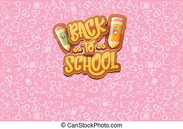 Back to school vector horizntal background template or banner with funny cartoon supplies like pencil ,book, bag, eraser and space for text. Vector back to school label