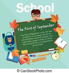 Back to school vector illustration. Chalkboard with accessories.