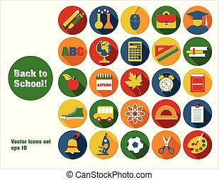 Back to school vector illustration. Set icons.