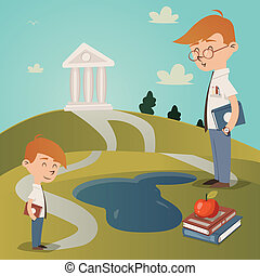 Back To School vector illustration with a cute little boy...