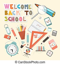 Back to School Vector Illustration with School Items