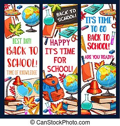 Back to School vector learning sketch banners