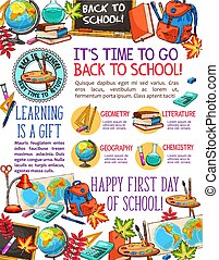 Back to School vector learning sketch poster