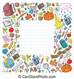 Back to school vector pattern. Education icons for children.
