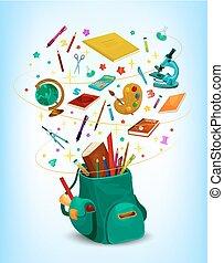 Back to School vector rucksack poster