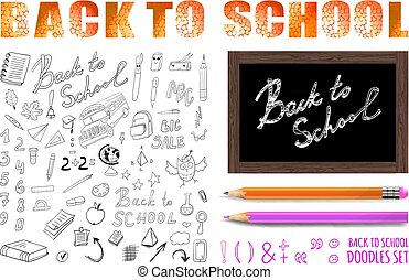 Back to school VECTOR set with realistic colored and simple pencil.