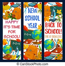 Back to School vector stationery banners