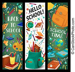 Back to School vector stationery banners set