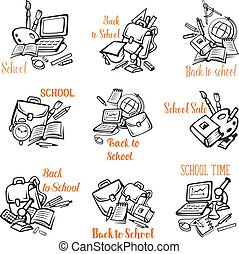 Back to School vector stationery icons