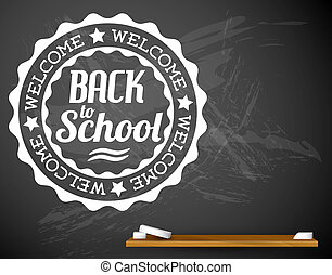 Back to school vector white illustration on a chalkboard