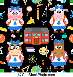 Back to school vector with animals