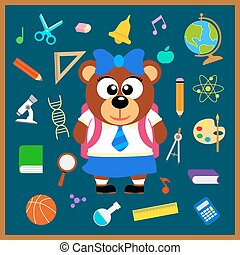 Back to school vector with bear