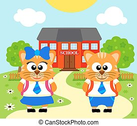 Back to school vector with cat