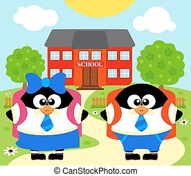 Back to school vector with penguins