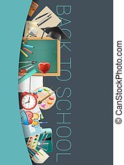 Back to school vertical background with school accessories. vector illustration