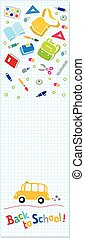 Back to school. Vertical banner or bookmark - Vertical...