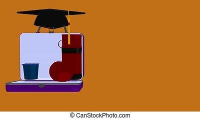 Back To School - Graduation cap on an orange background