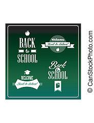 Back to school vintage ribbons set.