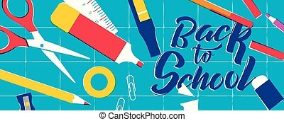 Back to school web banner of class supplies