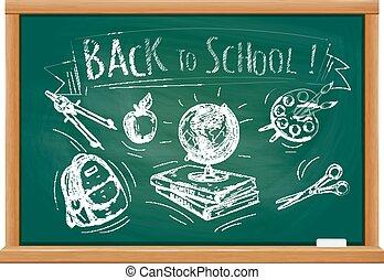 Back to school welcome chalk blackboard