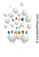 Back to school with a lot of flying white balloons