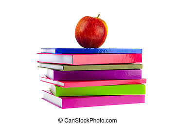 Back to school with books and apple