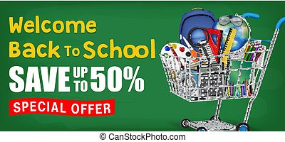back to school with cart full of education object