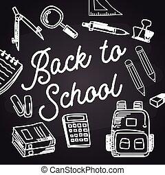 back to school with chalk font on blackboard