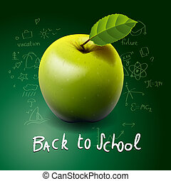 Back to school, with green apple on desk
