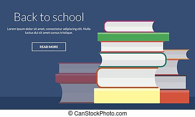 Back to school with many books. Vector online advertising