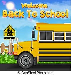 back to school with school bus on the road