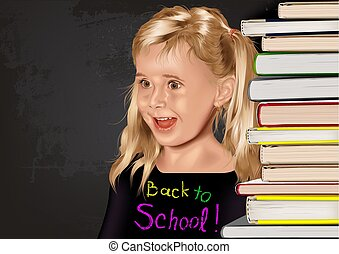 Back to School with School Girl and Stack of Books
