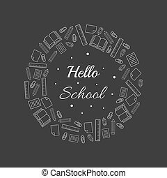 back to school with stationery item border on grey background