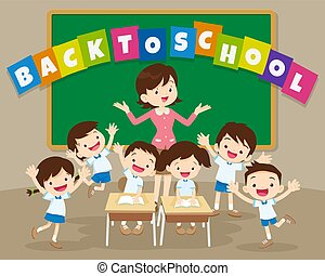 back to school with teacher and pupil