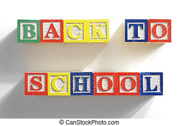 Back to school wooden blocks