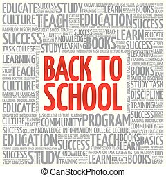 Back to School word cloud collage