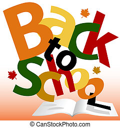 BACK TO SCHOOL words Fall text book pages - Colorful BACK TO...