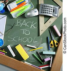Back to school written blackboard green board - Back to...