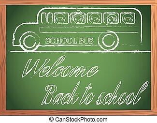 back to school written on blackboard with chalk vector illustration