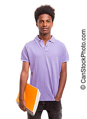 Back to school! - Young african student posing isolated over...