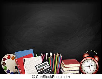 Back to school.Chalkboard with school supplies. Vector.