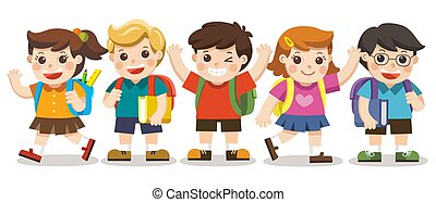 Back to school,Cute kids go to school , Set of diverse Kids and Different nationalities, isolated on white background. Isolated vector