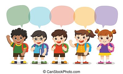 Back to school,Cute kids go to school with speech frame, Set of diverse Kids and Different nationalities with speech frame isolated on white background.