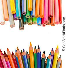back to schooll borders of pencils - multicolored pensils ...