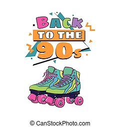 Back to the 90s poster, banner template with roller skates