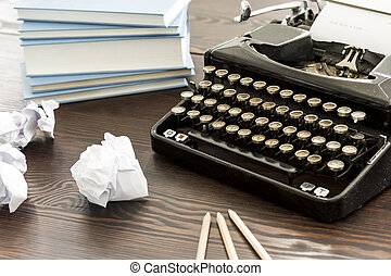 Back to the past - Novelist's desk with the typewriter, ...