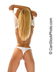 Back torso - Blonde woman with naked back torso take off a...