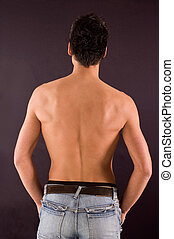 Back torso - Male torso from back view on dark backgrounds