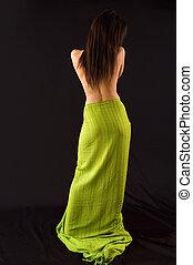 Back torso - Naked back torso of woman\\\'s body on dark
