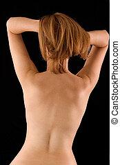 Back torso - Naked back torso of woman\\\'s body on white...